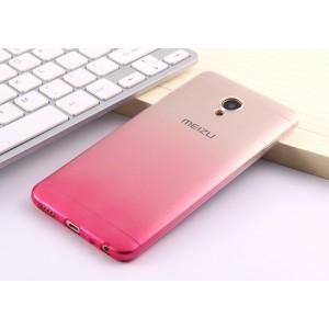 Силиконовый глянцевый полупрозрачный градиентный чехол для Meizu M5 Пурпурный