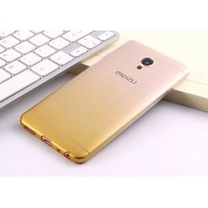 Силиконовый глянцевый полупрозрачный градиентный чехол для Meizu M5 Желтый