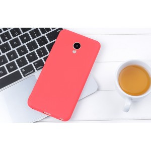 Силиконовый матовый непрозрачный чехол для Meizu M5 Красный