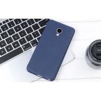 Силиконовый матовый непрозрачный чехол для Meizu M5 Синий