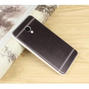 Силиконовый матовый полупрозрачный чехол с текстурным покрытием Кожа для Meizu M5 Черный