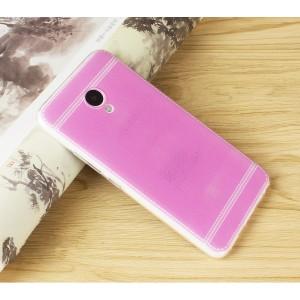 Силиконовый матовый полупрозрачный чехол с текстурным покрытием Кожа для Meizu M5 Розовый