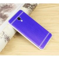 Силиконовый матовый полупрозрачный чехол с текстурным покрытием Кожа для Meizu M5  Синий
