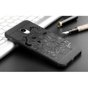 Силиконовый матовый непрозрачный чехол с текстурным покрытием Дракон для Meizu M5  Черный