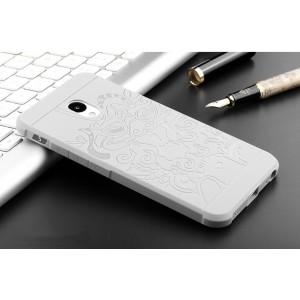 Силиконовый матовый непрозрачный чехол с текстурным покрытием Дракон для Meizu M5  Белый