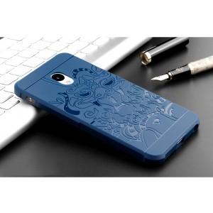 Силиконовый матовый непрозрачный чехол с текстурным покрытием Дракон для Meizu M5  Синий