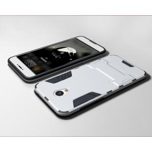 Силиконовый матовый непрозрачный чехол с поликарбонатными вставками с встроенной ножкой-подставкой для Meizu M5 Белый