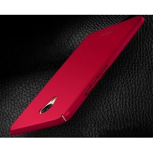 Пластиковый непрозрачный матовый чехол с улучшенной защитой элементов корпуса для Meizu M5  Красный