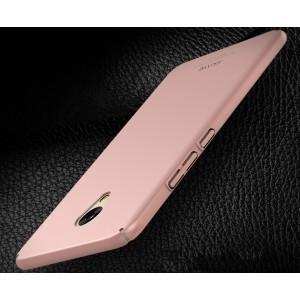 Пластиковый непрозрачный матовый чехол с улучшенной защитой элементов корпуса для Meizu M5  Розовый