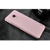Пластиковый непрозрачный матовый чехол с повышенной шероховатостью и защитой торцев для Meizu M5  Розовый