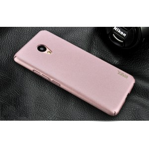 Пластиковый непрозрачный матовый чехол с повышенной шероховатостью и защитой торцов для Meizu M5 Розовый