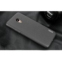 Пластиковый непрозрачный матовый чехол с повышенной шероховатостью и защитой торцев для Meizu M5  Черный