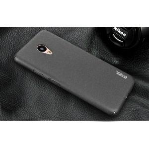 Пластиковый непрозрачный матовый чехол с повышенной шероховатостью и защитой торцов для Meizu M5 Черный