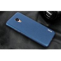Пластиковый непрозрачный матовый чехол с повышенной шероховатостью и защитой торцев для Meizu M5  Синий