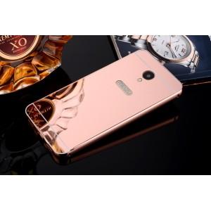 Двухкомпонентный чехол c металлическим бампером с поликарбонатной накладкой и зеркальным покрытием для Meizu M5 Розовый