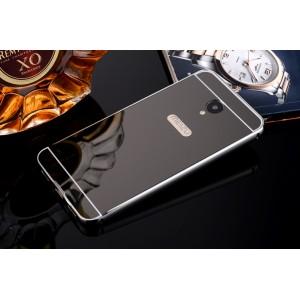 Двухкомпонентный чехол c металлическим бампером с поликарбонатной накладкой и зеркальным покрытием для Meizu M5