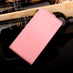 Глянцевый водоотталкивающий чехол вертикальная книжка на силиконовой основе на магнитной защелке для Meizu M5 Розовый
