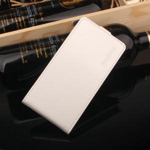 Глянцевый водоотталкивающий чехол вертикальная книжка на силиконовой основе на магнитной защелке для Meizu M5 Белый