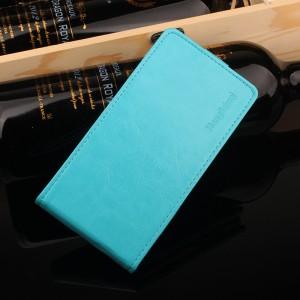 Глянцевый водоотталкивающий чехол вертикальная книжка на силиконовой основе на магнитной защелке для Meizu M5 Голубой