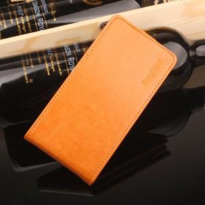 Глянцевый водоотталкивающий чехол вертикальная книжка на силиконовой основе на магнитной защелке для Meizu M5 Оранжевый