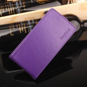 Глянцевый водоотталкивающий чехол вертикальная книжка на силиконовой основе на магнитной защелке для Meizu M5 Фиолетовый
