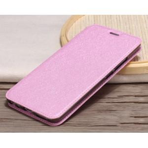 Чехол горизонтальная книжка подставка текстура Золото на силиконовой основе для Meizu M5 Розовый