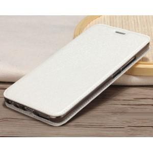 Чехол горизонтальная книжка подставка текстура Золото на силиконовой основе для Meizu M5 Белый