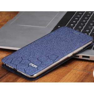 Чехол горизонтальная книжка подставка текстура Соты на силиконовой основе для Meizu M5  Синий
