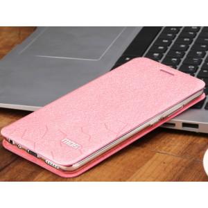 Чехол горизонтальная книжка подставка текстура Соты на силиконовой основе для Meizu M5  Розовый