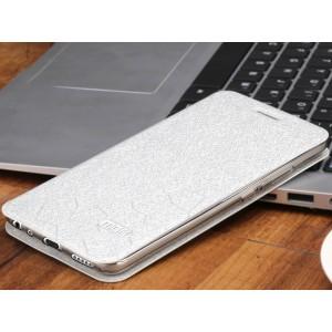 Чехол горизонтальная книжка подставка текстура Соты на силиконовой основе для Meizu M5  Белый