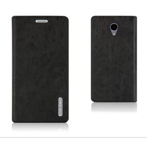 Винтажный чехол горизонтальная книжка подставка на пластиковой основе с отсеком для карт на присосках для Meizu M5  Черный