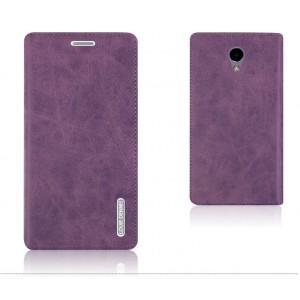 Винтажный чехол горизонтальная книжка подставка на пластиковой основе с отсеком для карт на присосках для Meizu M5  Фиолетовый