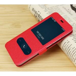 Чехол горизонтальная книжка подставка на силиконовой основе с окном вызова и свайпом на магнитной защелке для Meizu M5 Красный