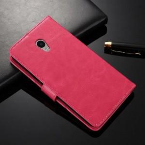 Глянцевый водоотталкивающий чехол горизонтальная книжка подставка на силиконовой основе с отсеком для карт на магнитной защелке для Meizu M5 Пурпурный