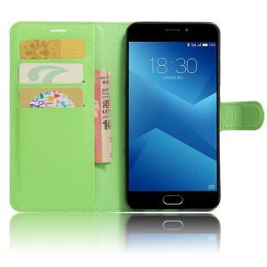 Чехол горизонтальная книжка подставка на силиконовой основе с отсеком для карт на магнитной защелке для Meizu M5  Зеленый