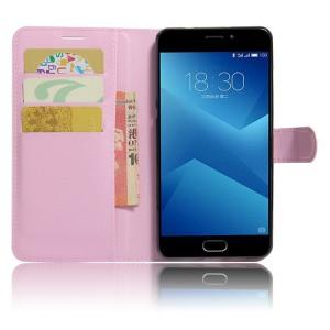 Чехол горизонтальная книжка подставка на силиконовой основе с отсеком для карт на магнитной защелке для Meizu M5  Розовый