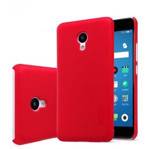 Пластиковый непрозрачный матовый нескользящий премиум чехол для Meizu M5  Красный