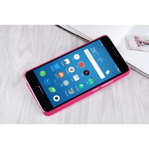 Чехол горизонтальная книжка на пластиковой нескользящей премиум основе для Meizu M5  Розовый