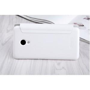 Чехол горизонтальная книжка на пластиковой нескользящей премиум основе для Meizu M5  Белый