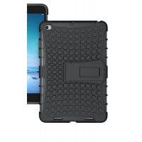 Противоударный двухкомпонентный силиконовый матовый непрозрачный чехол с нескользящими гранями и поликарбонатными вставками для экстрим защиты с встроенной ножкой-подставкой для Xiaomi Mi Pad 2/MiPad 3 Черный