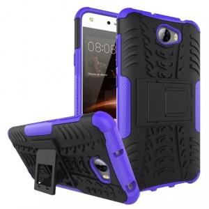 Противоударный двухкомпонентный эргономичный силиконовый матовый непрозрачный чехол с поликарбонатными вставками экстрим защиты с встроенной ножкой-подставкой для Huawei 5A/Y5 II Фиолетовый