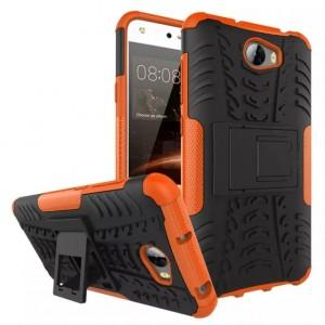 Противоударный двухкомпонентный эргономичный силиконовый матовый непрозрачный чехол с поликарбонатными вставками экстрим защиты с встроенной ножкой-подставкой для Huawei 5A/Y5 II Оранжевый