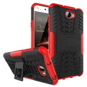 Противоударный двухкомпонентный эргономичный силиконовый матовый непрозрачный чехол с поликарбонатными вставками экстрим защиты с встроенной ножкой-подставкой для Huawei 5A/Y5 II Красный
