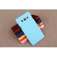 Пластиковый непрозрачный матовый чехол для Samsung Galaxy A3 Голубой