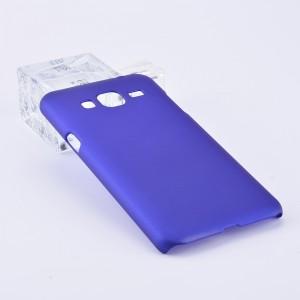 Пластиковый непрозрачный матовый чехол для Samsung Galaxy J3 (2016) Синий