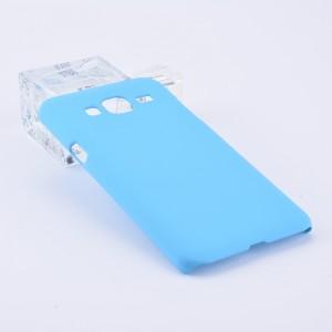 Пластиковый непрозрачный матовый чехол для Samsung Galaxy J3 (2016) Голубой