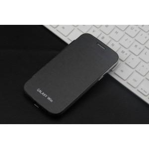 Чехол горизонтальная книжка на пластиковой встраиваемой основе для Samsung Galaxy Win  Черный