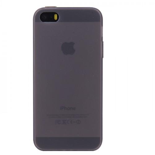 Силиконовый матовый полупрозрачный чехол для Iphone 5/5s/SE Черный