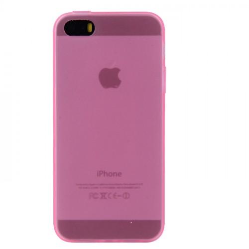 Силиконовый матовый полупрозрачный чехол для Iphone 5/5s/SE Розовый