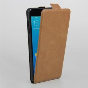 Чехол вертикальная книжка на силиконовой основе с отсеком для карт на магнитной защелке для Samsung Galaxy A5 (2016) Коричневый